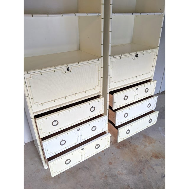 Drexel Kensington Faux Bamboo Secretary Cabinets, a Pair For Sale In Dallas - Image 6 of 12