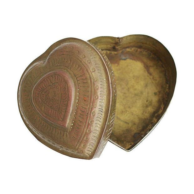 Hand-Crafted Brass Heart Box For Sale - Image 4 of 4