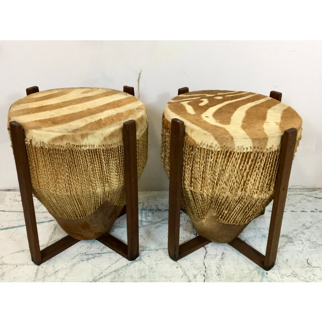 African Zebra Skin Drum Tables - a Pair For Sale In Atlanta - Image 6 of 6