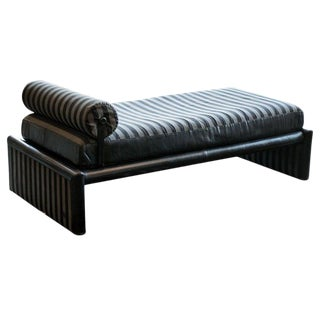 Fendi Daybed Chaise, Black Leather and Fendi Stripe, Italy, 1980s For Sale