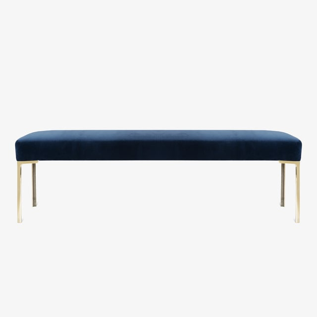 """Brass Astor 60"""" Brass Bench in Navy Velvet by Montage For Sale - Image 7 of 7"""