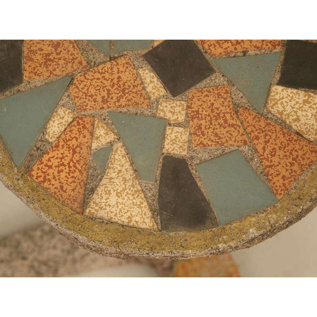Blue Circa 1920 French Faux Bois Mosaic Top Garden Pedestal For Sale - Image 8 of 10