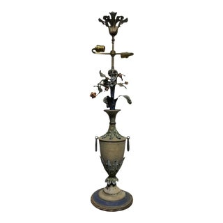 French Painted Tole Urn Form Lamp with Flowers For Sale