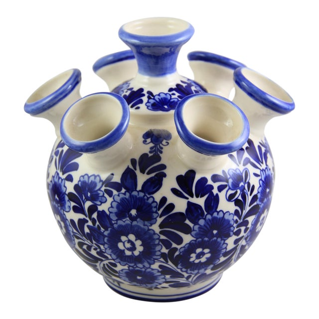 Delft Hand-Painted Blue White Porcelain Tulip Vase For Sale
