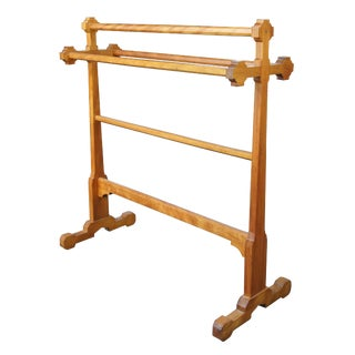 Arts & Crafts Handmade Solid Maple Blanket Rack Towel Rail or Quilt Stand For Sale