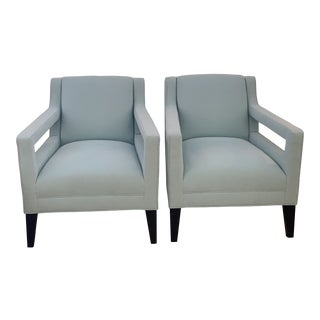 Contemporary Mitchell & Gold Club Chairs- A Pair For Sale
