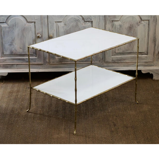 Mid-Century Modern Maison Bagues Faux Bamboo Table With White Glass Top For Sale - Image 3 of 11