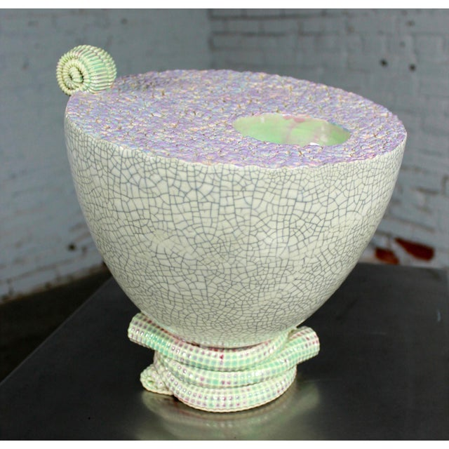 This is an awesome sea-green ceramic sculpture made by ceramicist Martin Bleyer circa 1998. Martin teaches pottery on...