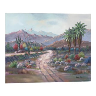 1980s Palm Springs Desert Landscape Acrylic Painting by Gunnar Erman For Sale