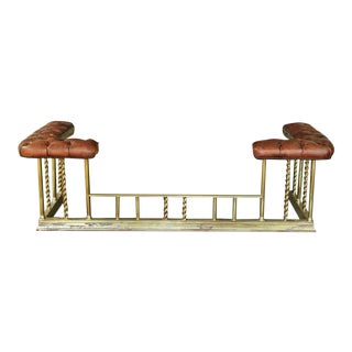Antique English Chesterfield Brass and Leather Club Fireplace Fender For Sale