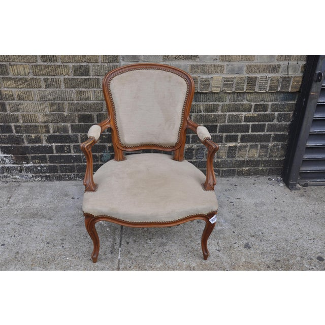 French Vintage French Taupe Velvet Walnut Louis XV Rococo Style Armchair Fauteuil For Sale - Image 3 of 12