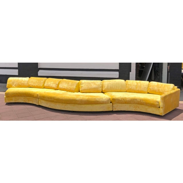 Craft Associates Adrian Pearsall Serpentine Crushed Yellow Velvet Sofa For Sale - Image 4 of 6