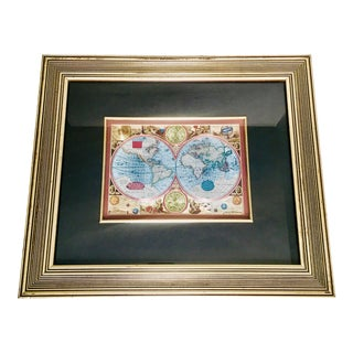 Framed Double Hemisphere/Old World Foil Print Map For Sale