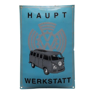 Vintage Enameled Advertising Sign Vw Volkswagen For Sale