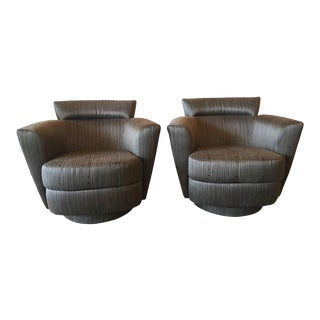 Vintage Swivel Chairs Armchairs Platform Base - a Pair For Sale