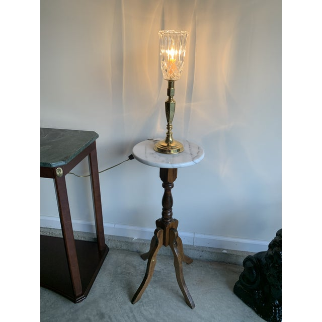 Vintage Mid 20th Century Brass Plated Metal Candlestick and Cut Crystal Glass Table Lamp For Sale In Lexington, KY - Image 6 of 8