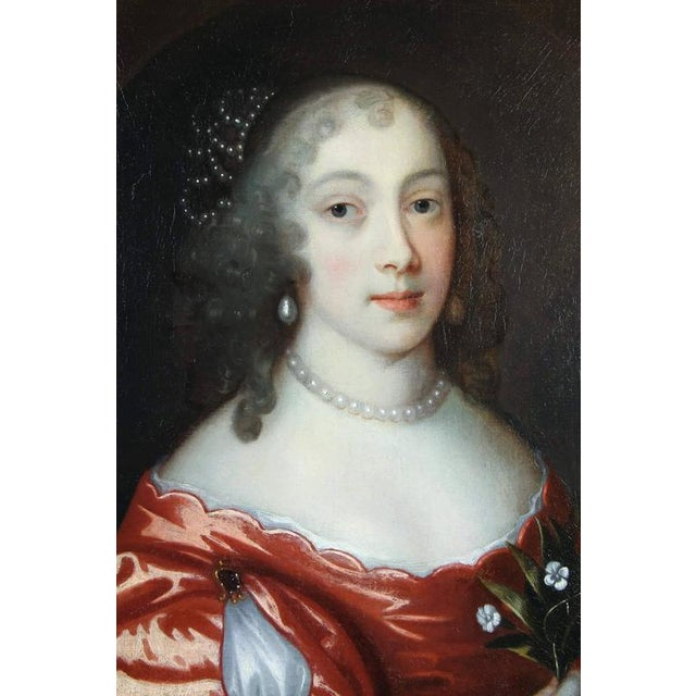 Red Framed Oil on Canvas of a Noblewoman Attributed to Sir Peter Lely For Sale - Image 8 of 8