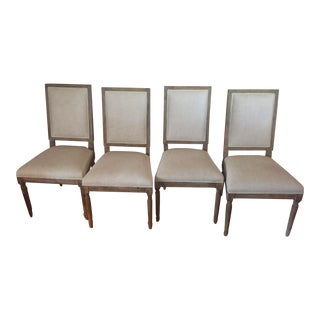 Restoration Hardware French Square Linen Dining Chairs- Set of 4 For Sale