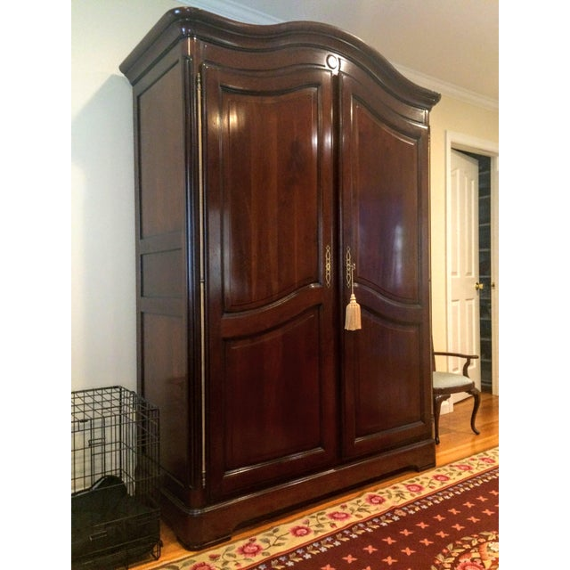 French Grange France Bonnet Top Armoire For Sale - Image 3 of 11