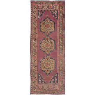 Vintage Turkish Light Burgundy and Navy Wool Runner Rug - 3′ × 9′4″