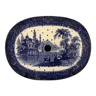 Antique English Meat Platter Drainer Flow Blue Victorian Transferware China For Sale