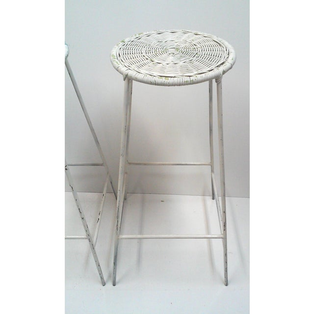 Iron & Wicker Bar Stools -- A Pair - Image 4 of 9