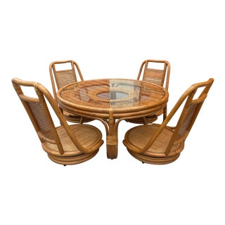 1960s Rattan and Cane Table and Chairs - Set of 5 For Sale