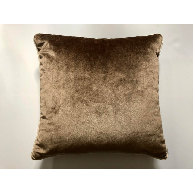 Brown 19th Century Metallic Silver Wire Floral Embroidery Brown Velvet Pillow For Sale - Image 8 of 13