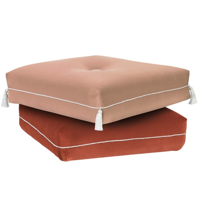 Boho Chic Two-Tone Turkish Ottoman, Pink & Coral For Sale - Image 3 of 3