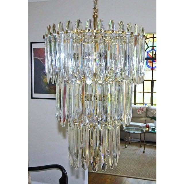 Large Three-Tier Gaetano Sciolari Italian Crystal Chandelier For Sale - Image 10 of 11