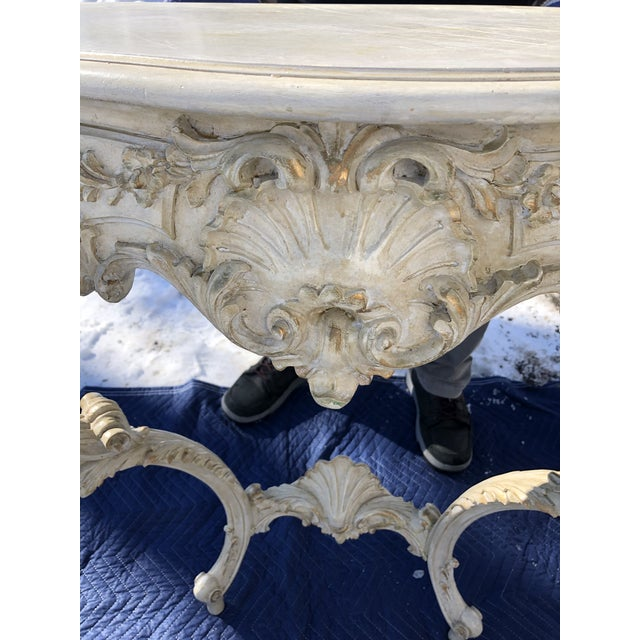 Louis XV Style Relief Carved Antiqued Ivory Painted Parcel-Gilt Console Table For Sale - Image 4 of 12