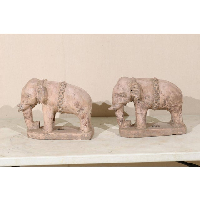 Off-white Pair of Eclectic 20th Century British Colonial Terracotta Elephants in Pale Pink For Sale - Image 8 of 9