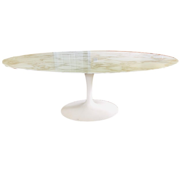 """White Knoll Eero Saarinen 78"""" Oval Arabescato Marble Tulip Dining Table For Sale - Image 8 of 9"""