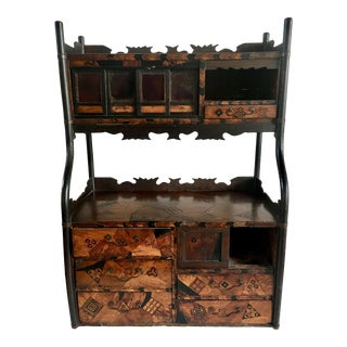 1880 Japanese Wood Inlaid Wall Cabinet