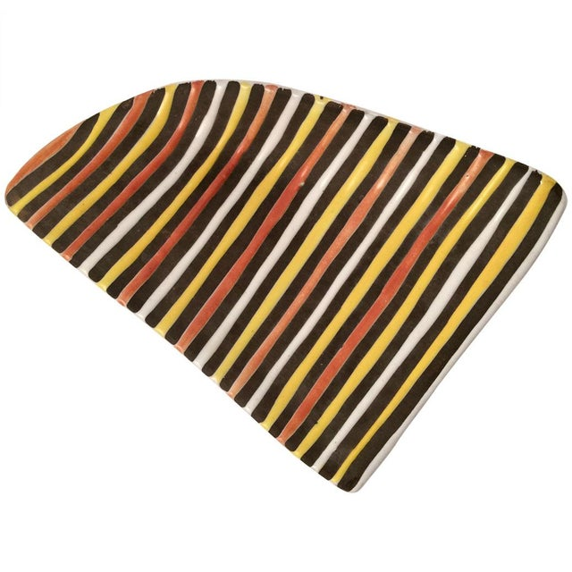 Vintage Italian Striped Ceramic Footed Dish - Image 3 of 7