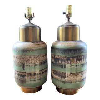 Ceramic and Brass Table Lamps - A Pair For Sale