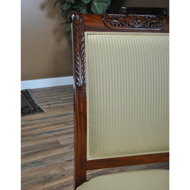 Brown Niagara Furniture Carved Empire Upholstered Side Chair For Sale - Image 8 of 13