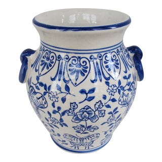 Blue & White Butterfly Vase For Sale