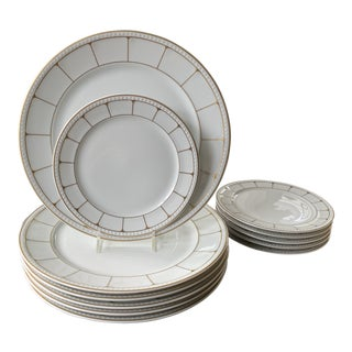 Tirschenreuth Dinner and Bread and Butter Art Deco Style Gold and White Plates -12 Pieces For Sale