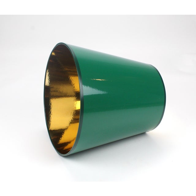 "High Gloss Dark Green Lamp Shade with Gold Lining Size - Top Diameter: 7"" Bottom Diameter: 10: Height: 10"" Made To Order:..."