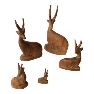 Carved Wood Antelope Family - Set of 5