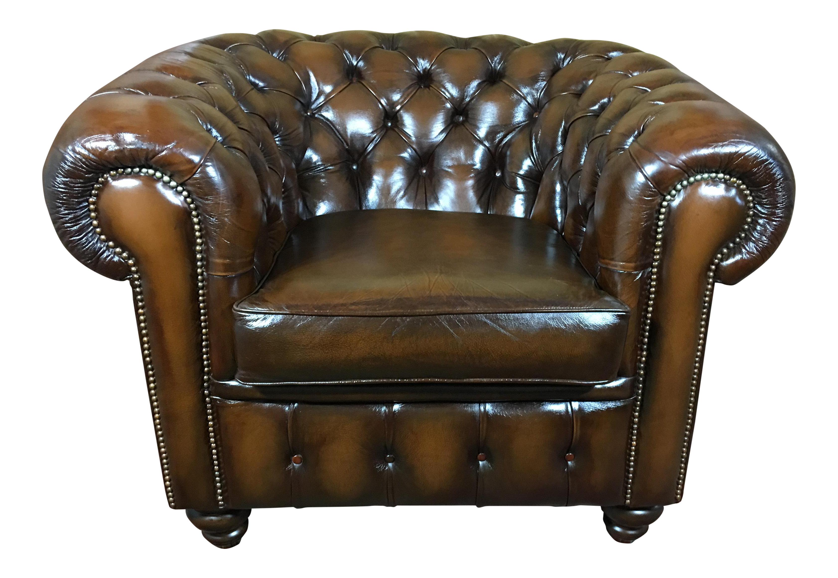 Vintage Mid Century English Tobacco Brown Leather Chesterfield Club Chair