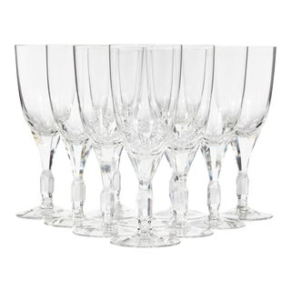 1960s Crystal Glass Wine Stems, Set of 10 For Sale