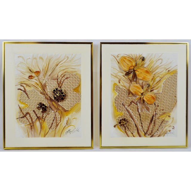 Vintage Artist Signed Framed Mixed Media Organic 3d Oil Painting- a Pair For Sale - Image 13 of 13