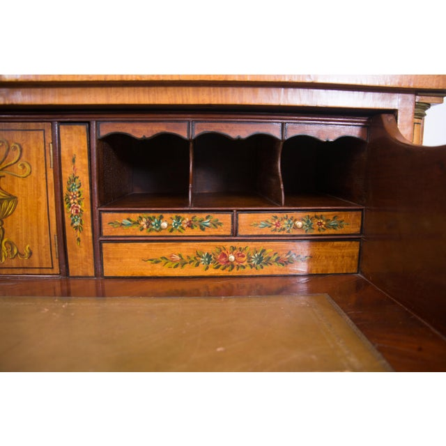 Pink English Adams Style Painted Satinwood Secretary For Sale - Image 8 of 10