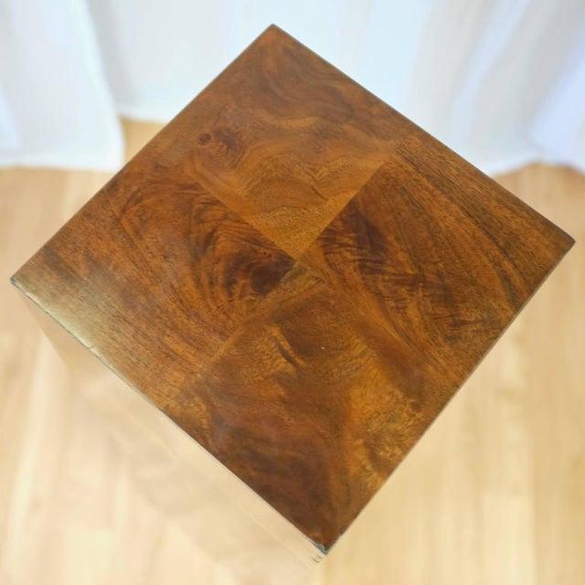 Brown Vintage Milo Baughman-Style Architectural Walnut Pedestal For Sale - Image 8 of 10