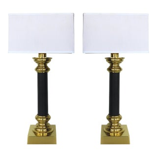 Stiffel Brass and Leather Column Table Lamps - a Pair For Sale