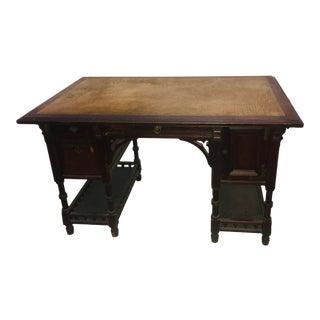 Vintage Arts & Crafts Leather Top Walnut Partner Desk For Sale