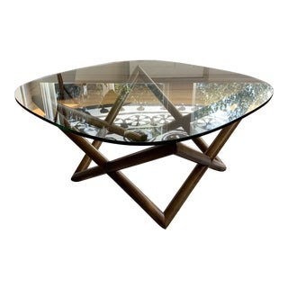 West Elm Star Round Walnut Glass Coffee Table For Sale