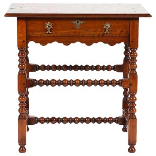 Pair of William and Mary Style Walnut Side Tables, Great Color and Patina. Priced Per Table For Sale